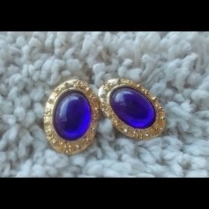 3/$20 VNTG Purple Gold Clip On Statement Earrings